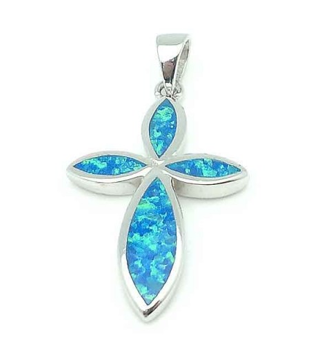 Silver Cross and Blue Opal