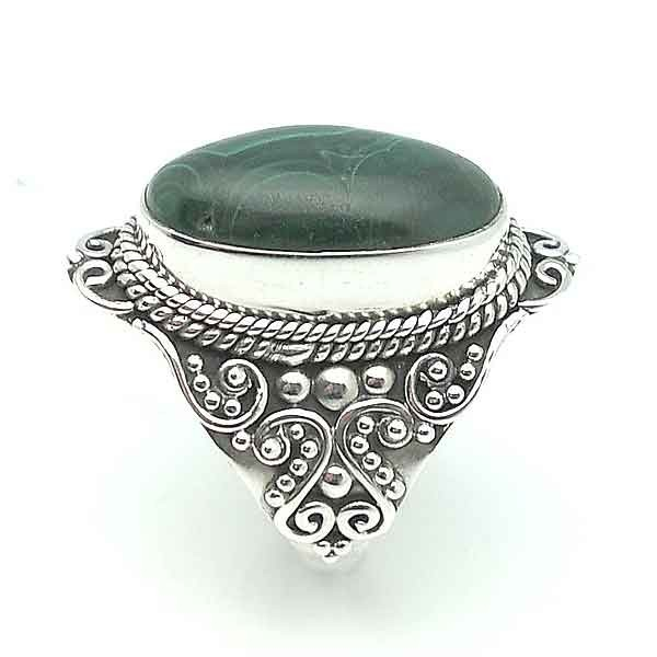 Ring sterling silver and malachite