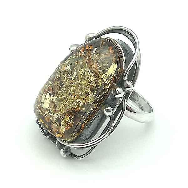 Ring sterling silver & amber