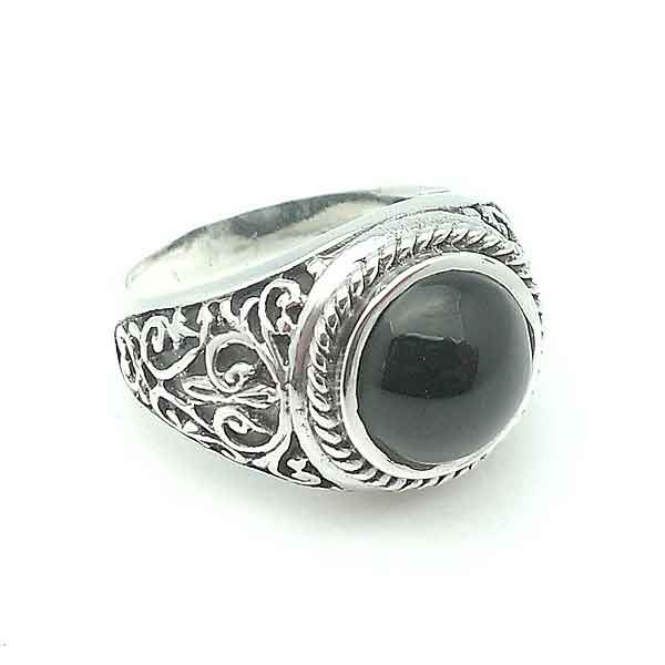 Unisex silver and jet ring