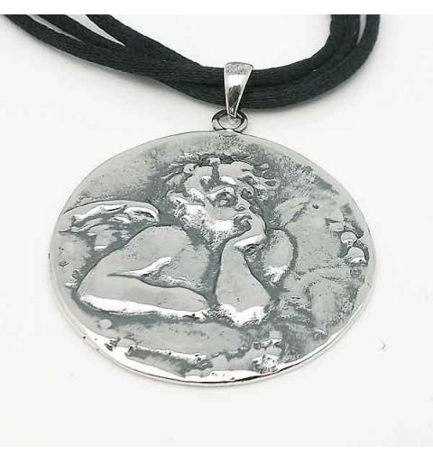 Colgante querubín en plata