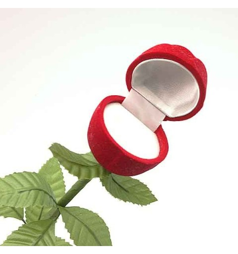 Caja para anillo con froma de rosa