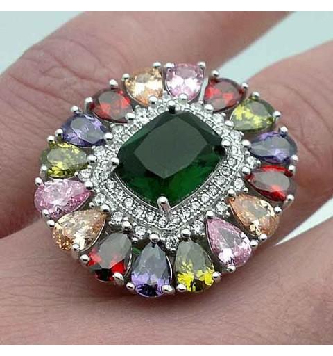 Silver ring multicolor