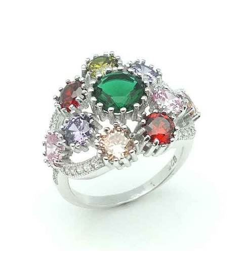 Silver ring multicolor