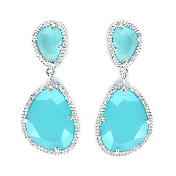 Silver earrings, azure blue