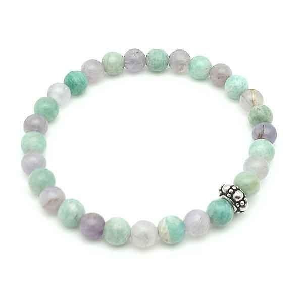 Elastic bracelet, agates and amethysts