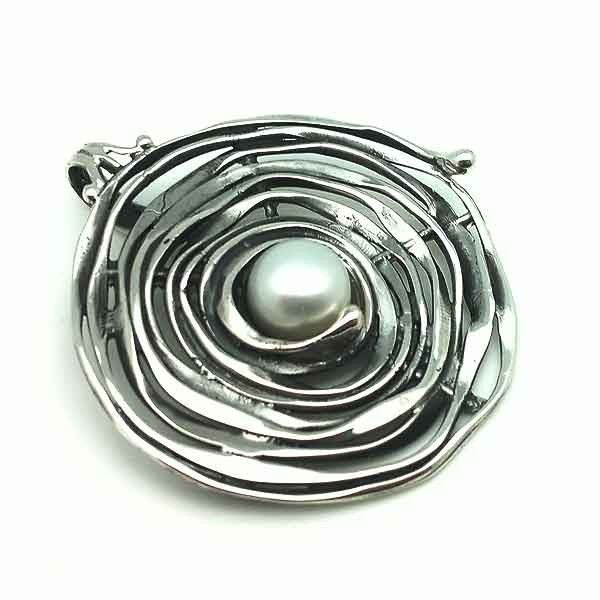 Handmade pendant, silver and pearl