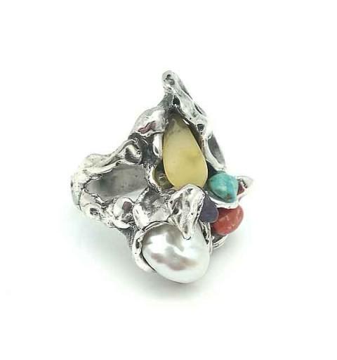 Anillo plata y piedras
