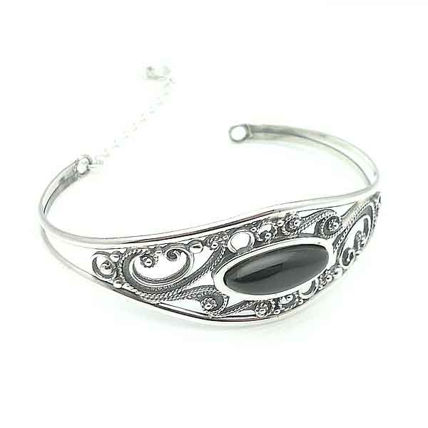 Rigid bracelet silver and jet