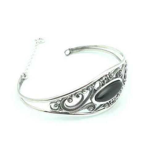Rigid bracelet silver and jet