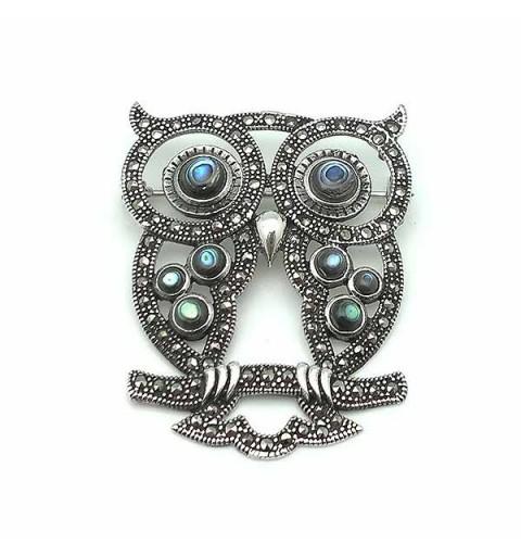 Owl brooch, silver