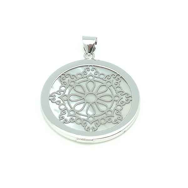 Mandala silver and mother of pearl pendant
