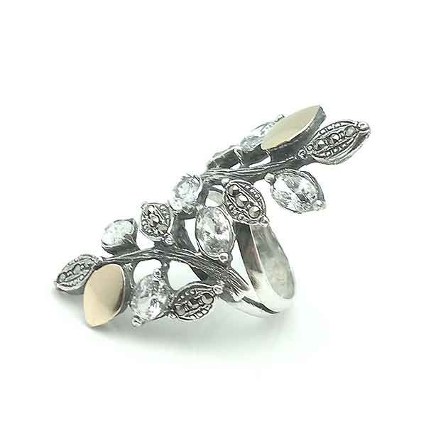 Ring silver and gold 9 kt