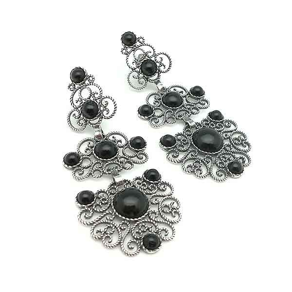 Silver earrings, filigree
