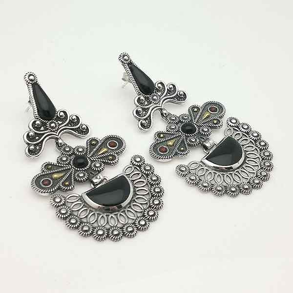 Silver and jet earrings