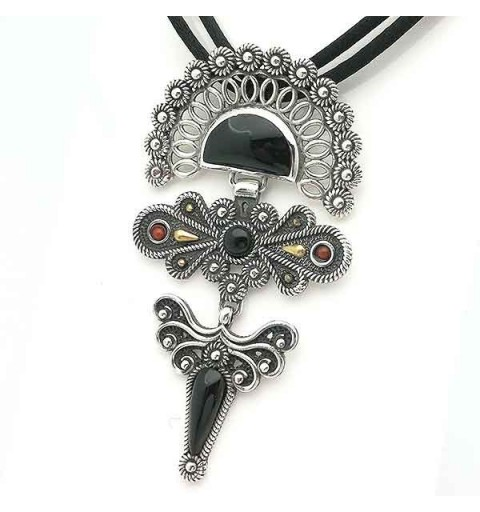 Pendant, silver and jet