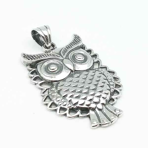 Pendant with owl shape made in sterling silver silver owl pendant mozeypictures Image collections