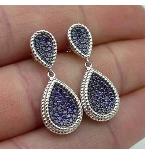 Silver earrings, lilac
