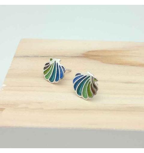 Earrings in silver shell