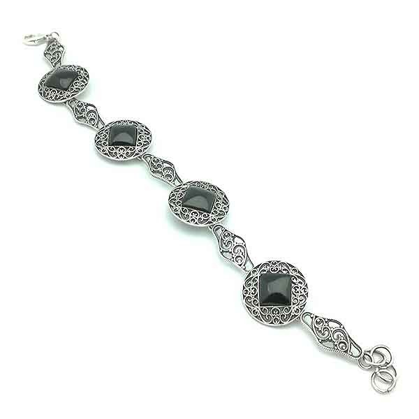 Silver and Jet stone Bracelet