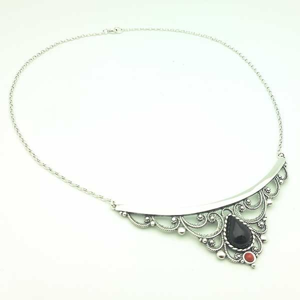Silver and jet choker