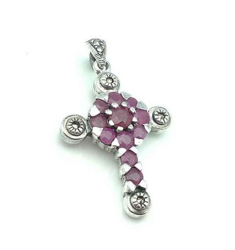 Silver and ruby cross