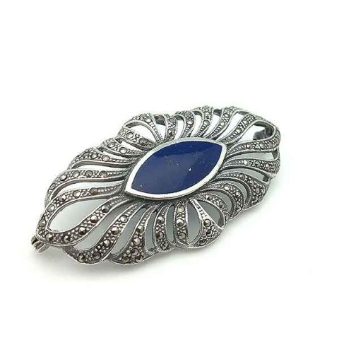 Silver and lapis lazuli brooch