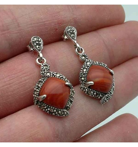 Silver and coral earrings