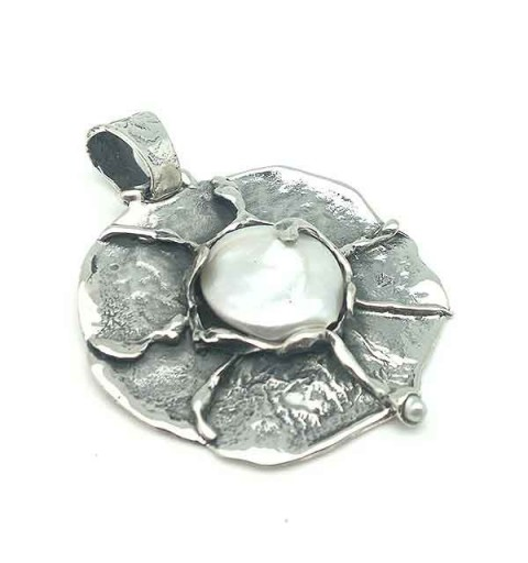 Colgante plata y perla cultivada