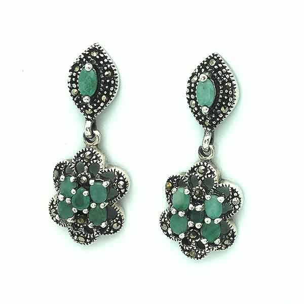 Silver and emerald earrings