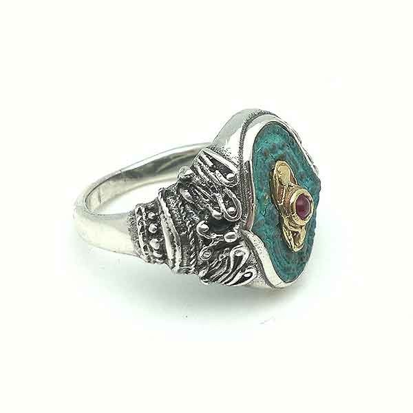 Silver and bronze ring