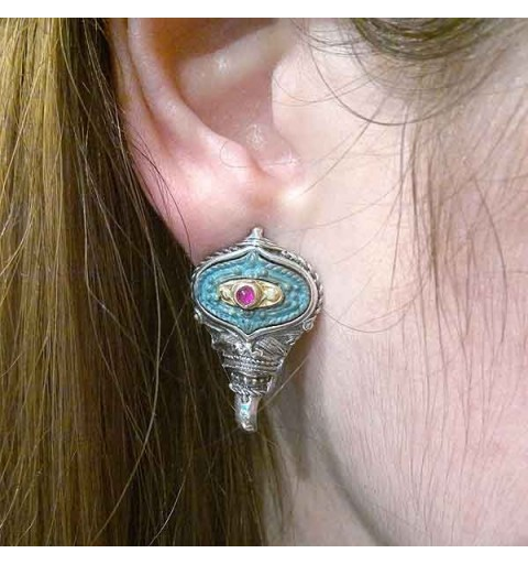 Silver and bronze earrings