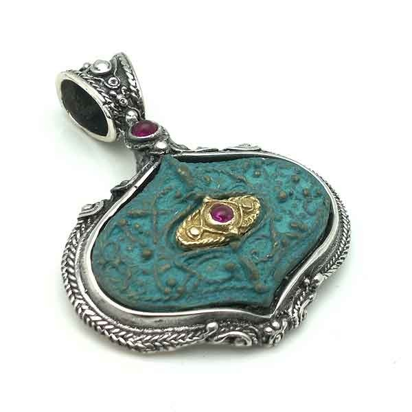 Silver and bronze pendant