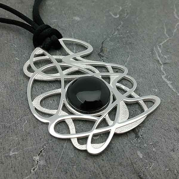 Handmade pendant in sterling silver and natural jet silver and jet pendant aloadofball Image collections