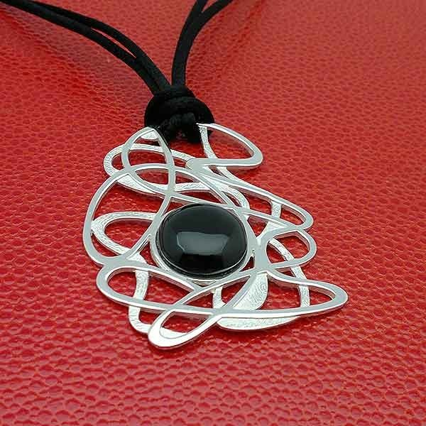 Silver and jet pendant