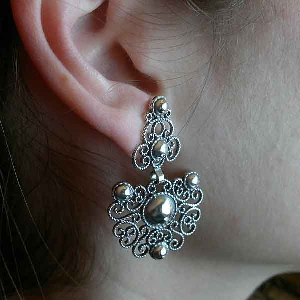 Aged silver earrings
