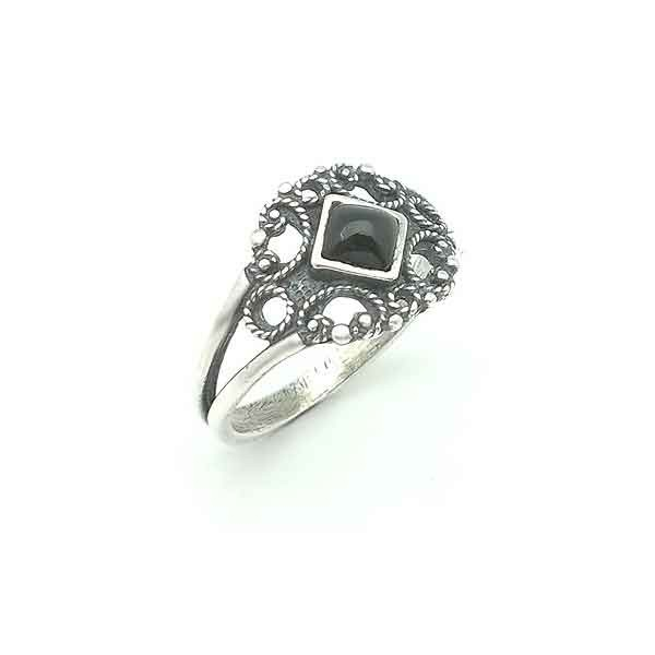 Silver and jet ring