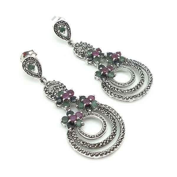 Long earrings in silver