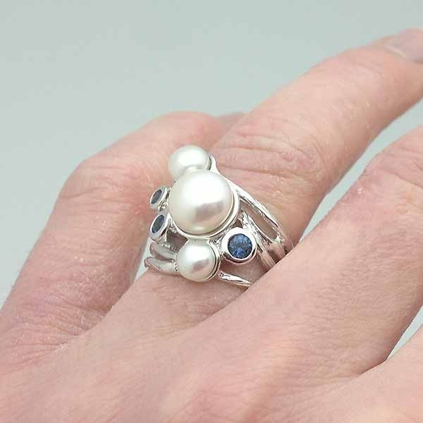Silver ring and natural stones