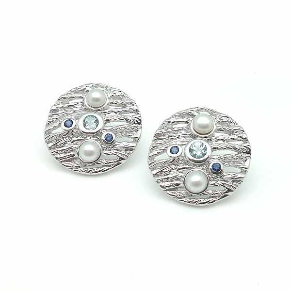 Pendientes de piedras naturales y plata