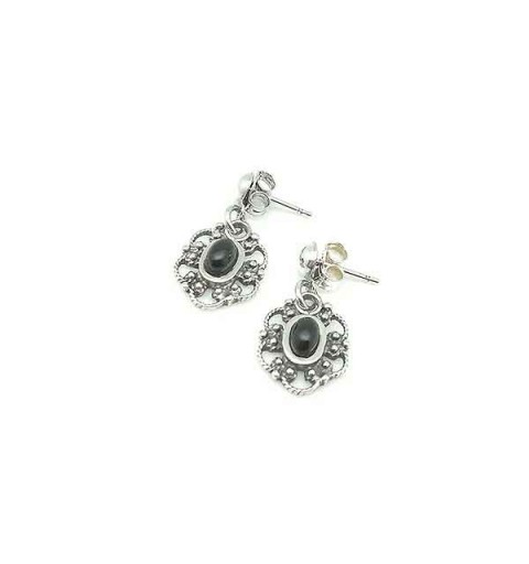 Jet flower earrings