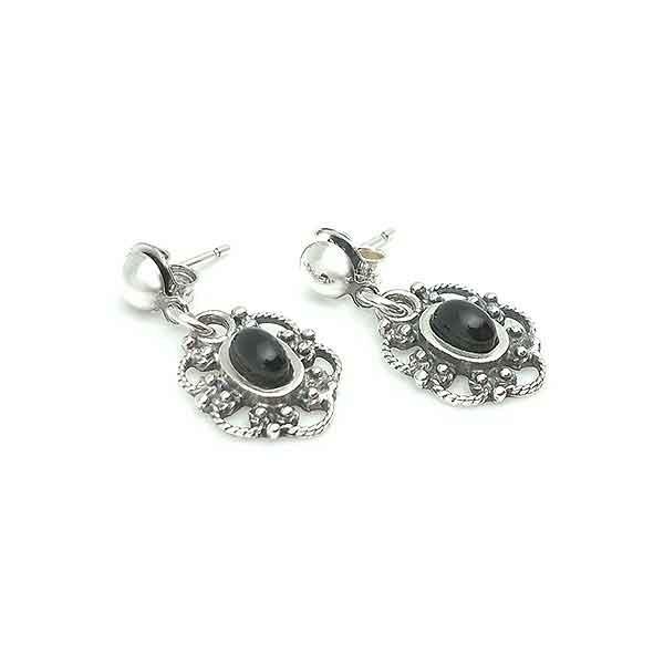 Jet flower earrings