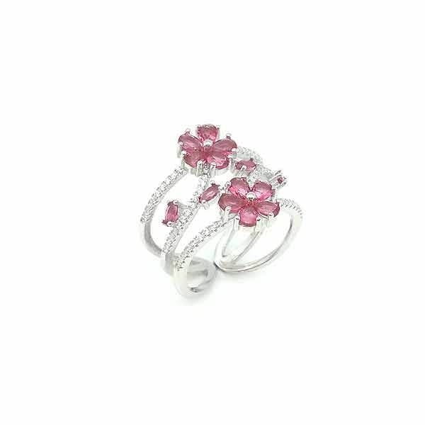 Pink zirconias ring