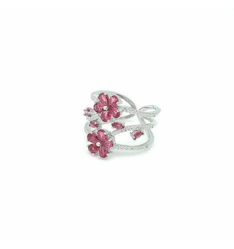 Anillo circonitas rosa