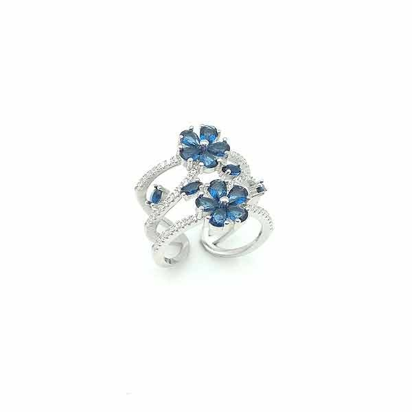 Blue zircons ring
