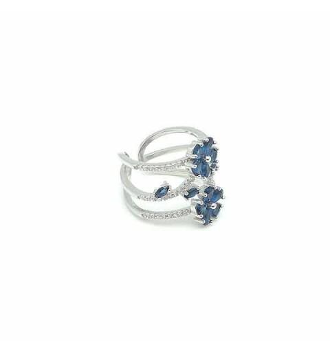 Blue zircons ring