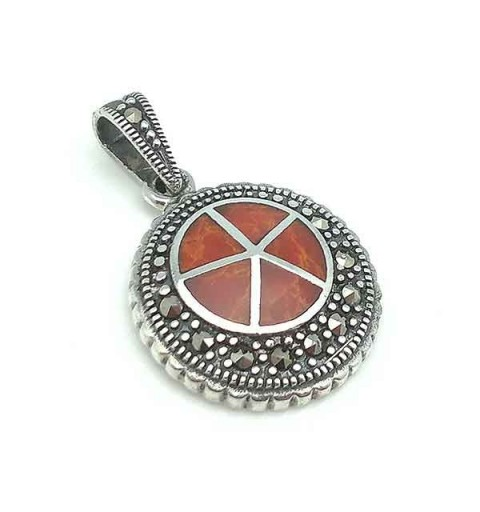 Coral pendant and marcasitas.