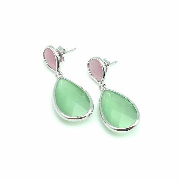 Pendientes plata rosa y verde