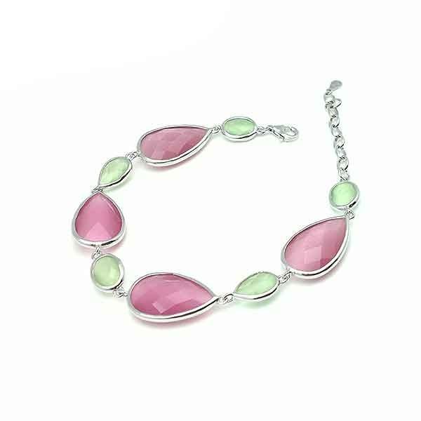 Pulsera plata rosa y verde