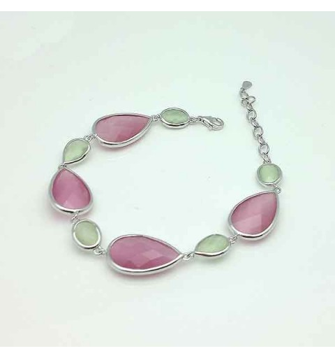 Pink and green silver bracelet